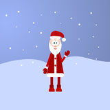 Retro styled Christmas Card with Santa Claus. Outdoors with snow Royalty Free Stock Images