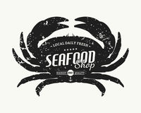Retro styled crab silhouette seafood shop label template Royalty Free Stock Photos