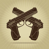 Retro Styled Crossed Pistols Silhouette Royalty Free Stock Images