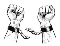 Breaking chains. Retro styled drawing of a hands breaking chains vector illustration