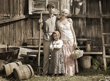 Retro styled family portrait Royalty Free Stock Photos