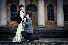 Retro styled fashion portrait of a young couple. Clothing and make-up in 1920s style stock photography