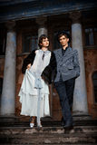 Retro styled fashion portrait of a young couple. Stock Image