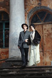 Retro styled fashion portrait of a young couple. Clothing and make-up in 1920's style stock image