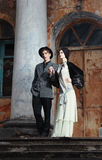 Retro styled fashion portrait of a young couple. Clothing and make-up in 1920's style stock images