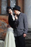 Retro styled fashion portrait of a young couple. Clothing and make-up in 1920's style stock photo
