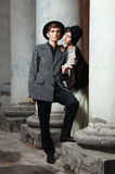 Retro styled fashion portrait of a young couple. Clothing and make-up in 1920's style royalty free stock photos