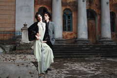 Retro styled fashion portrait of a young couple. Clothing and make-up in 1920's style stock photography