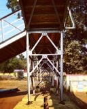 Retro styled footbridge stock photo