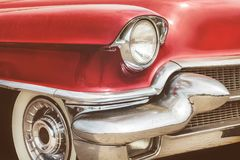 Front view of a red fifties American car. Retro styled front view of a red fifties American car stock images