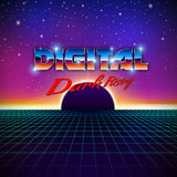 Retro styled futuristic landscape with lettering Stock Image