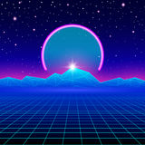 Retro styled futuristic landscape with neon arc Stock Photography