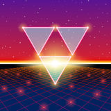 Retro styled futuristic landscape with triangles and shiny grid Stock Image