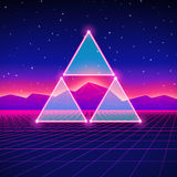 Retro styled futuristic landscape with triangles Royalty Free Stock Image