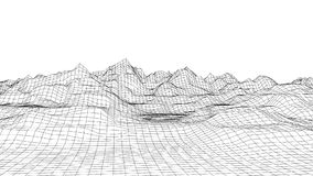 Retro styled futuristic wireframe landscape with mountains in black and white. low poly terrain model. Retro styled futuristic wireframe landscape with mountains vector illustration