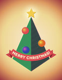 Retro styled geometric christmas tree with baubles. Retro styled geometric christmas tree with ribbon and baubles Stock Photos