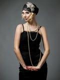 Retro styled girl stock photo