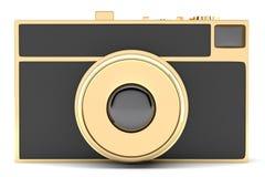 Retro-styled golden photo camera  on white background Royalty Free Stock Photo