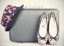 Retro styled hat, shoes and baggage Royalty Free Stock Photography