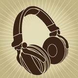 Retro Styled Headphone Illustration Royalty Free Stock Photo