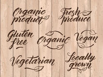 Retro styled healthy food letterings. Label, logo template Stock Photo