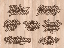 Retro styled healthy food letterings. Label, logo template Stock Image