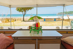 Retro styled holiday caravan at Mount Maunganui Beach Royalty Free Stock Photos