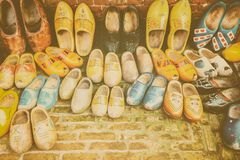 Colorful vintage Dutch wooden clogs royalty free stock photo