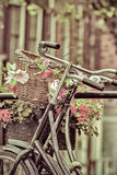 Retro styled image of Dutch bicycles in Amsterdam Stock Image