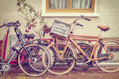 Retro styled image of Dutch bicycles in Amsterdam Stock Images