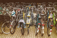 Retro styled image of Dutch bicycles Stock Images