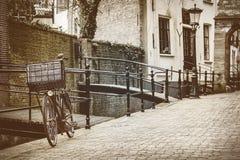 Retro styled image of the Dutch city of Gouda Royalty Free Stock Photo