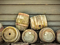 Retro styled image of old beer barrels Royalty Free Stock Photo