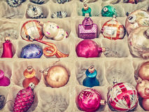 Retro styled image of old Christmas balls Royalty Free Stock Photos