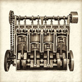 Retro styled image of an old classic car engine Royalty Free Stock Image