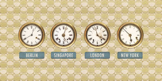Retro styled image of old clocks with world times Stock Photos