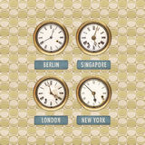 Retro styled image of old clocks with world times Stock Photo