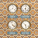 Retro styled image of old clocks with world times Stock Image