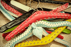 Retro styled image of old dress hangers Royalty Free Stock Photo