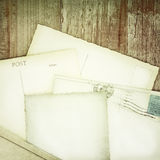 Retro styled image of old empty postcards Royalty Free Stock Photography