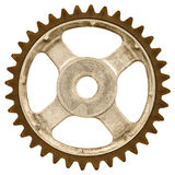 Retro styled image of an old gear wheel isolated on white Stock Photography