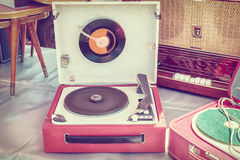 Retro styled image of an old record player Stock Photo