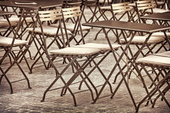 Retro styled image of restaurant chairs and tables Stock Photo