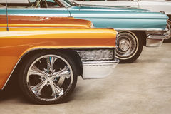 Retro styled image of vintage American cars Stock Images