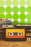 Retro styled image of vintage audio compact cassettes Royalty Free Stock Images