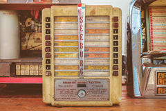 Retro styled image of vintage small wall jukeboxes on a flee mar Stock Photos