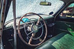 Cabin of the old car Royalty Free Stock Photography