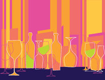 Retro styled invitation to cocktail party. Coloful vector illustration