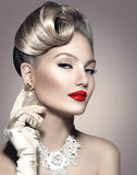 Retro Styled Lady Portrait. Retro Styled Beauty Lady Portrait Royalty Free Stock Photography
