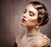 Retro Styled Makeup With Pearls royalty free stock image